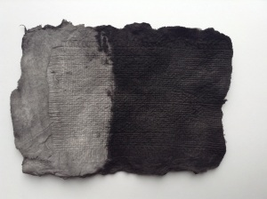 'Seep' 2015, handmade paper, Indian ink, embossing. Jane Ponsford